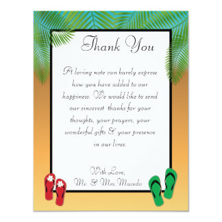 4x5 FLAT Thank You Card His/Hers Sandals On Beach 11 Cm X 14 Cm Invitation Card