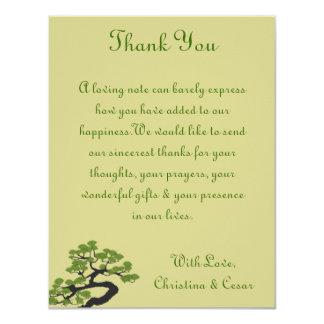 4x5 FLAT Thank You Card Japanese Green Bonsai Tree 11 Cm X 14 Cm Invitation Card