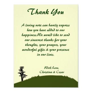 4x5 FLAT Thank You Card Japanese Green Hill Top Te 11 Cm X 14 Cm Invitation Card