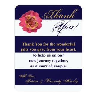 4x5 FLAT Thank You Card Modern Stripe Navy Blue 11 Cm X 14 Cm Invitation Card