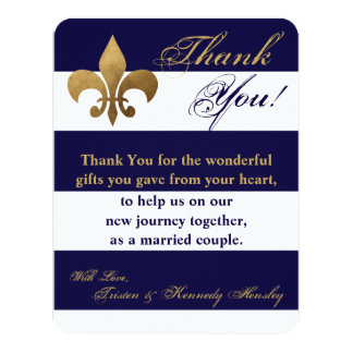 4x5 FLAT Thank You Card Modern Stripe Navy White 11 Cm X 14 Cm Invitation Card