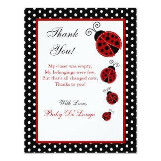 "4x5 FLAT Thank you Card Red Ladybug 4.25"" X 5.5"" Invitation Card"