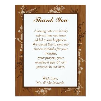 4x5 FLAT Thank You Card Wooden Plank Floral Weddin Personalized Announcements