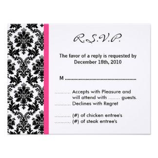 4x5 R.S.V.P. Reply Card - Black Damask Hot Pink Custom Invites