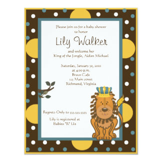 4x5 size King of the Jungle Brown/Orange dot 11 Cm X 14 Cm Invitation Card