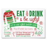 4x6 Christmas Party invitation card ugly sweater Photo Print