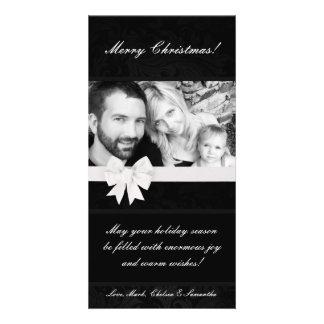 4x8 Black Floral Bow Ribbo PHOTO Christmas Card Custom Photo Card