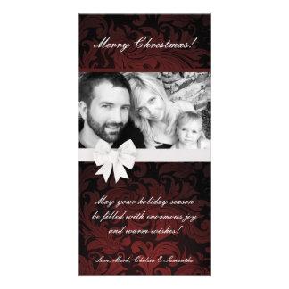4x8 Burgundy Floral Bow Ribbo PHOTO Christmas Card Customized Photo Card