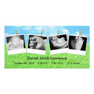 4x8 Clothes Line Portrait PHOTO Birth Announcement Card