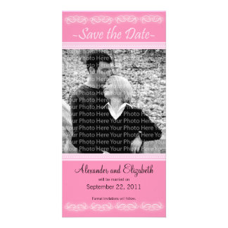 "4x8"" Elegant Pink Save the Date Announcement Photo Greeting Card"