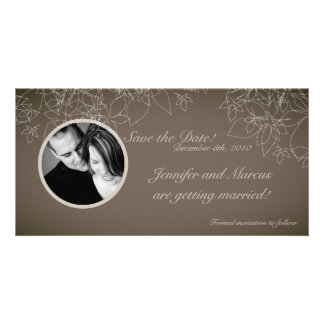 4x8 Engagement Announcement Autumn Floral Fall Customized Photo Card