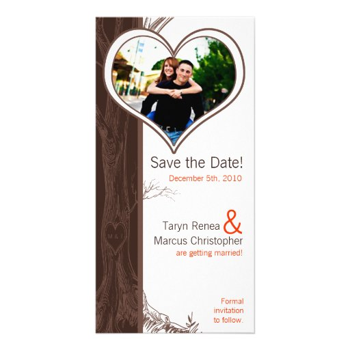 4x8 Engagement Announcement Fall Tree Initial Carv Photo Greeting Card