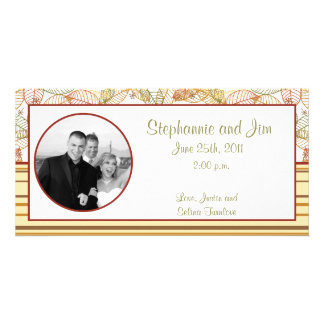 4x8 Engagement Photo Announcement Fall Leaves Personalised Photo Card