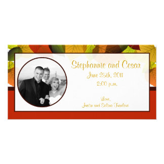 4x8 Engagement Photo Announcement Foliage Leaves Personalized Photo Card
