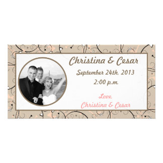 4x8 Engagement Photo Announcement Light Coral Pink Customised Photo Card