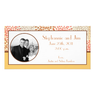 4x8 Engagement Photo Announcement Pink/Brown Flora Custom Photo Card