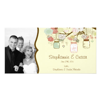 4x8 Engagement Photo Announcement Spring Floral Customized Photo Card