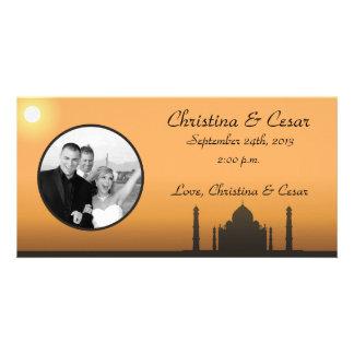 4x8 Engagement Photo Announcement Taj Mahal Sunset Custom Photo Card