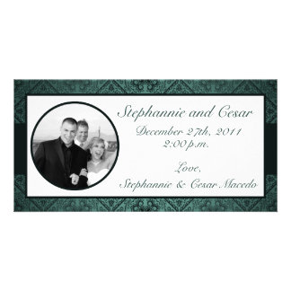 4x8 Engagement Photo Announcement Teal Ornate Dama Photo Card