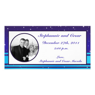 4x8 Engagement Photo Announcement White Snow Flake Personalised Photo Card
