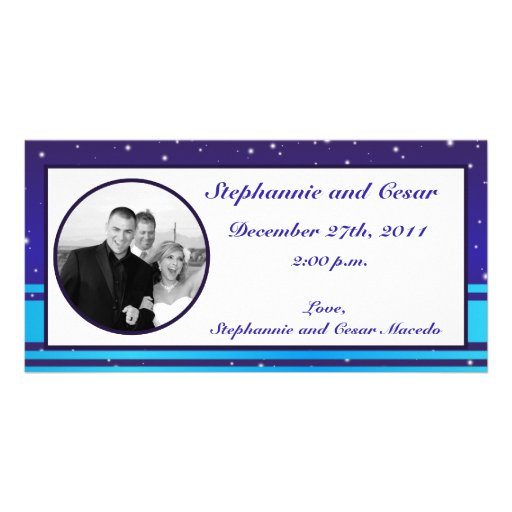 4x8 Engagement Photo Announcement White Snow Flake Customized Photo Card