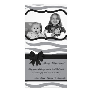 4x8 Gray Black Zebra Prin PHOTO Christmas Card Personalised Photo Card