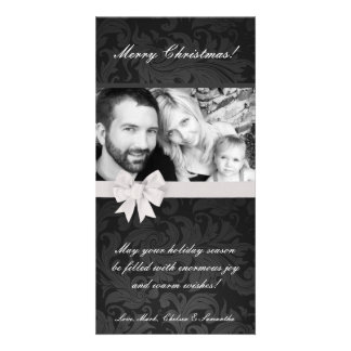 4x8 Gray Gre Floral Bow Ribbo PHOTO Christmas Card Photo Greeting Card