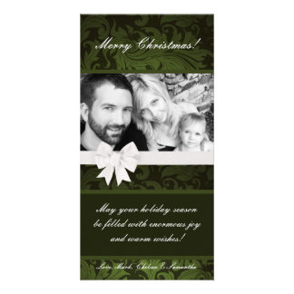 4x8 Green Floral Bow Ribbo PHOTO Christmas Card Photo Cards