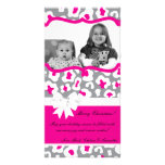 4x8 Grey Pink Cheetah PHOTO Christmas Card Picture Card