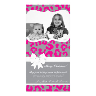 4x8 Hot Pink Gray Cheetah PHOTO Christmas Card Picture Card
