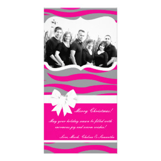 4x8 Hot Pink Gray Zebra Prin PHOTO Christmas Card Personalized Photo Card