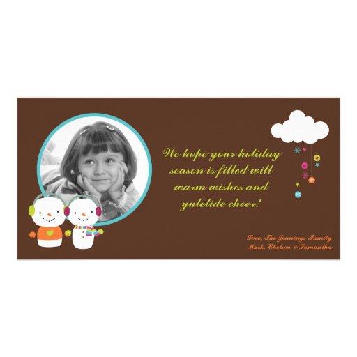 4x8 Modern Snowman Snow Flake PHOTO Christmas Card Photo Card Template
