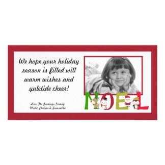 4x8 NOEL Santa Snowman Pengui PHOTO Christmas Card Customized Photo Card