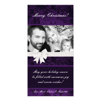 4x8 Purple Floral Bow Ribbo PHOTO Christmas Card Customised Photo Card