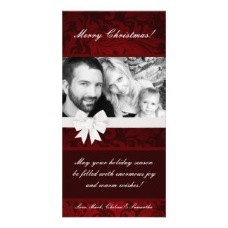 4x8 Red Floral Bow Ribbo PHOTO Christmas Card Personalised Photo Card