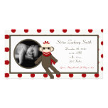 4x8 Red Sock Monkey Birth Announcement Personalized Photo Card