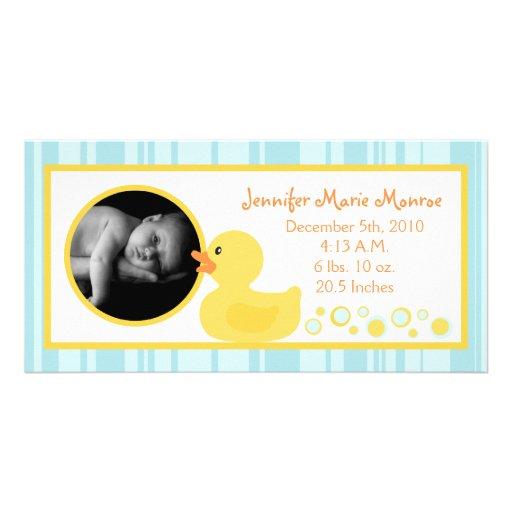 4x8 Rubber Ducky Bubbles Birth Announcement Personalized Photo Card