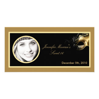 4x8 Sweet 16 Gold Black Party Announcement Custom Photo Card