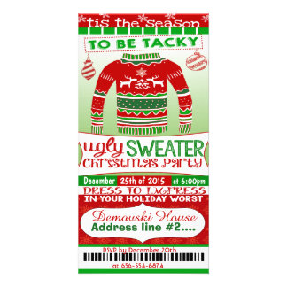 4x8 ticket style Christmas Party Invitation adult Custom Photo Card