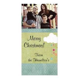 4x8 Winter Cloud / Snowflakes Christmas PHOTO Card