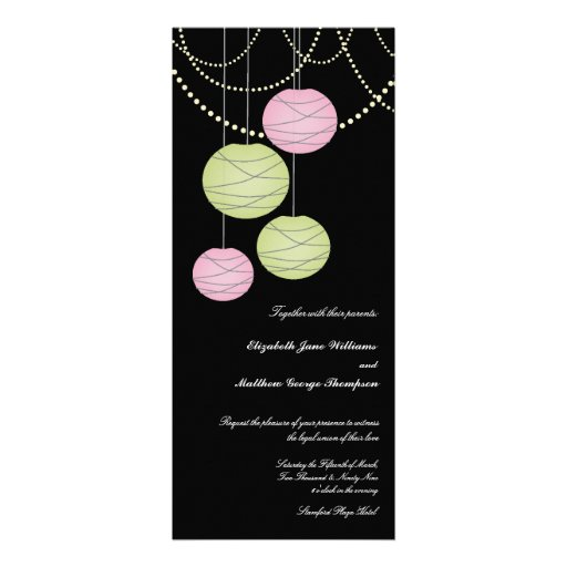 4x9 Long Pink Green Paper Lanterns Wedding Invite