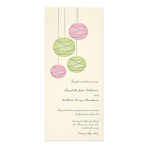4x9 Wedding Long Pink Green Paper Lanterns Invite