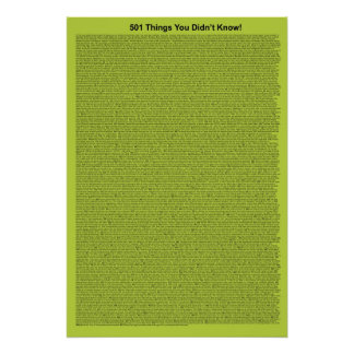 501 Things You Didn t Know Lime Print