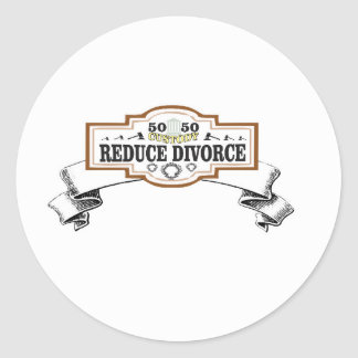 50 50 custody reduce divorce classic round sticker