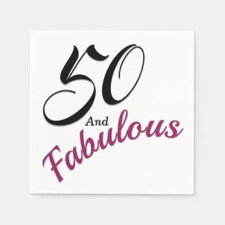 50 and Fabulous.50th Birthday Party Paper Napkins. Disposable Napkin
