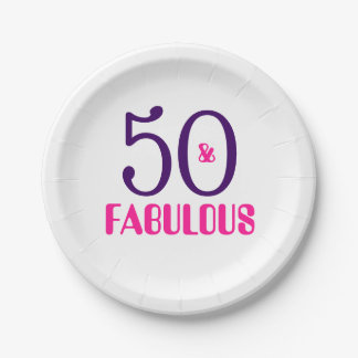 50 And Fabulous 50th Birthday Party Paper Plate