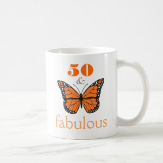 50 and Fabulous Birthday Butterfly Gift Mug