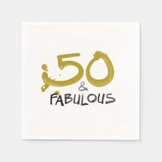50 and Fabulous birthday cocktail party napkins Disposable Serviette