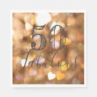 50 And Fabulous. Birthday. Golden Hearts Bokeh. Disposable Serviette