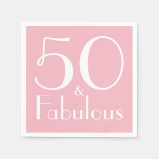 50 and Fabulous Birthday Party Paper Napkins Disposable Serviette